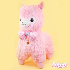Alpacasso Plush with Polka Dot Bow - Large / Pink