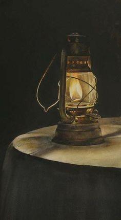 """Night""  2013  -  Watercolor Painting by ATANAS MATSOUREFF  - Bulgaria www.matsoureff.bgcatalog.com Hurricane Lanterns, Candle Lanterns, Candles, Antique Oil Lamps, Vintage Lamps, Light Art, Lamp Light, Fire Candle, Victorian Paintings"