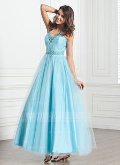 Holiday Dresses - $152.99 - A-Line/Princess Halter Ankle-Length Tulle Holiday Dress With Ruffle Beading (020026033) http://jjshouse.com/A-Line-Princess-Halter-Ankle-Length-Tulle-Holiday-Dress-With-Ruffle-Beading-020026033-g26033
