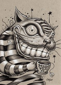 The Cheshire Cat, having his daily drink from the Mad Tea Company. This original ink drawing is available in my shop at www. Creepy Drawings, Dark Drawings, Creepy Art, Pencil Drawings, Cheshire Cat Drawing, Chesire Cat, Gato Alice, Alice In Wonderland Drawings, Psychedelic Drawings