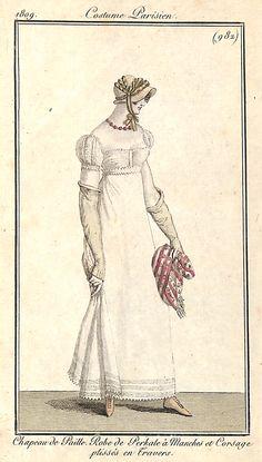 Costume Parisien 1809 - n° 982 - Chapeau de Paille. Robe de Perkale à Manches et Corsage plissés en Travers - MAS Estampes Anciennes - Antique Prints since 1898