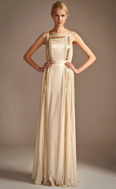 An Alternative Wedding Dress - Long Embellished Ribbon Dress | Temperley London #gold #cream