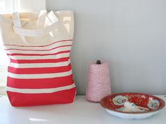 DIY painted stripe tote bag - for grandma gifts?