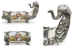 A silver and en plein enamel kovsh
