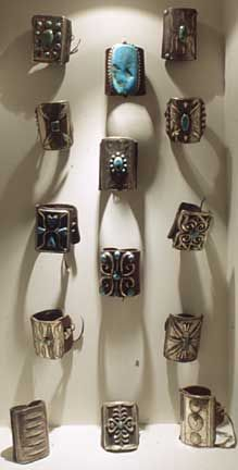 Millicent Rogers Museum, Taos New Mexico, turquoise ketohs display, Native American jewelry