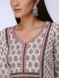 Beige-Black Bagh Printed Paneled Cotton Kurta - All About Salwar Designs, Printed Kurti Designs, Churidar Neck Designs, Kurta Neck Design, Kurta Designs Women, Printed Sarees, Neck Designs For Suits, Neckline Designs, Dress Neck Designs