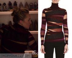 Nashville: Season 4 Episode 15 Juliette's Burgundy Mesh Striped Wrap Sweater