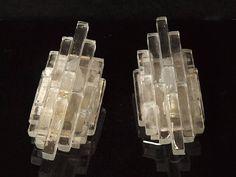 Italian Mid Century Glass Wall Lamp x 2