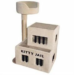 """At tall and just over wide, this funny condo has carpeted """"jail bars"""" in its 5 windows. It features an optional sisal rope scratch post with a cozy bed at the top and an inlaid title on the front of the first level. On the scratch post side, Cat Tree Condo, Cat Condo, Furniture Scratches, Cat Furniture, Crazy Cat Lady, Crazy Cats, Jail Bars, Cat Towers, Cat Playground"""