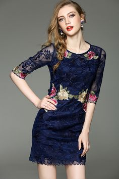 Check the details and price of this Navy Half Sleeve Sheer Floral Embroidery Sheath Mini Dress (Navy Blue, Ewheat) and buy it online. VIPme.com offers high-quality Sheath Dresses at affordable price.