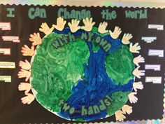 In honor of Earth Day this coming Monday the Whale class discussed what they each could do to help our planet and posted the children's answers around their hand prints which are surrounding their beautifully hand-painted Earth! Classroom Activities, Classroom Decor, Painted Earth, Bullentin Boards, Weather And Climate, Hand Prints, Our Planet, Earth Science, Earth Day