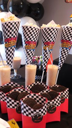 Mickey and the Roadster Racers Birthday Party Dessert Table - French Fry boxes for spare tires made with Cricut and Popcorn Cones 'Funnels' printed on computer Hot Wheels Birthday, Hot Wheels Party, Race Car Birthday, Race Car Party, Cars Birthday Parties, Mickey Party, Mickey Mouse Birthday, 3rd Birthday, Birthday Ideas