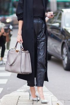 How to wear leather high waisted trousers #womentrousers