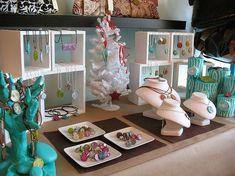 Turquoise & white display