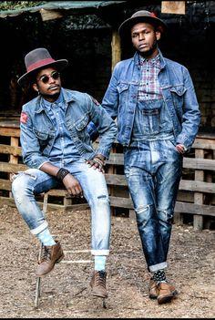 Mandla Duch Thabethe The Great Duch mpho modise Project Inflamed Denim Look, Men's Denim, Denim Style, Urban Fashion, Mens Fashion, Fashion Menswear, Bohemian Style Men, Denim Jacket Men, Denim Jackets