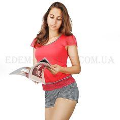86b95c8c664cb Коралловая пижама с шортами Hamana Roxy ♥ Пена кружев на нежной пижамке,  окантовка горловины