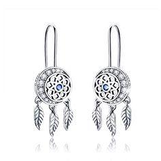 925 Silver Long Bar Feather Dangle Earrings Sterling Silver Dreamcatcher Earrings Dream Catcher Jewellery Gift