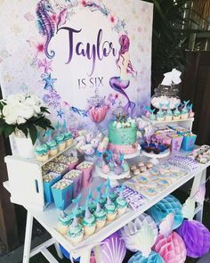 Candy Table Decoration Little Mermaid.Under The Sea Mermaid Candy Table In 2019 . Kara's Party Ideas Ariel The Little Mermaid Birthday . Birthday Table, 1st Birthday Parties, Girl Birthday, Birthday Ideas, Tea Parties, Mermaid Birthday Cakes, Little Mermaid Birthday, Candy Table Decorations, Birthday Party Decorations