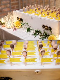 Adorable honey bee wedding decor by Greatest Expectations! Photos by Simply Jessie Photography via JunebugWeddings.com.