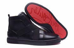 Christian Louboutin Sneak In Mens Flat Leather High Top Sneakers Black #christianlouboutinsneakers