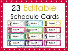 Provide your students with a visual of their day using these Editable Schedule Cards! I have included 23 editable schedule cards (text editable only). The best part is that this packet is editable so you can customize the cards for any subject area you would like!