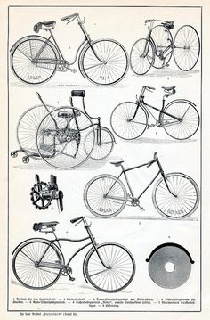 Bicycles from German encycolpaedia Velociped 2 by janwillemsen, via Flickr