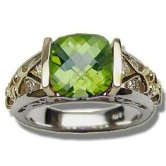 Mens Rings - .28 ct 8mm Checkerboard Cut Peridot Ring / Mens Jewelry Site: Project Fellowship
