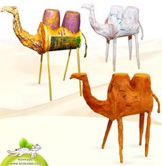 Recycle Bin Camels - pretty sure the instructions are in Arabic, but I think I can figure out the pictures.  :)