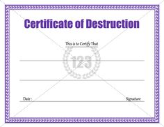 download certificate of destruction template 123certificatetemplates certificate template