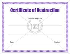 Download Certificate of Destruction Template - 123CertificateTemplates #Certificate #Template