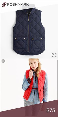 Petite Navy or Red J Crew Down Excursion Vest XSP I just bought both these vests but I need the XXS regular so will sell this I got from Jcrew Retail NOT factory and it's sold out in this color and size this year.  Our customer-favorite down vest that's slim and lightweight, but still warm enough to keep chilly weather at bay—now in new, perfect-for-fall colors to choose from.  Down-filled poly. Standing collar. Zip closure. Pockets. Machine wash. Import. Petites now only available online :)…