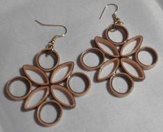 Brown and Tan handmade paper earrings Wearable by RheasOriginals