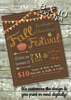 Fall Festival Flyer EVENT POSTER Community by DitDitDigital