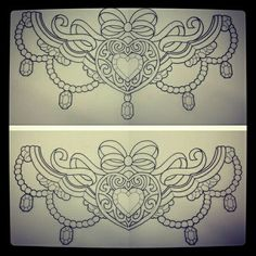 Heart & Jewels Sternum tattoo