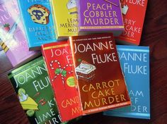 Hannah Swensen mysteries by Joanne Fluke. Two of my favorite things....  Books and Food!