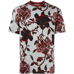 McQ Alexander McQueen floral print T-shirt (£180) ❤ liked on Polyvore featuring men's fashion, men's clothing, men's shirts, men's t-shirts, guy, menswear, tops, grey, mens striped t shirt and mens striped shirt
