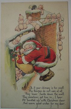 Vintage Christmas Postcard     Santa and Kewpies  This made me laugh out loud