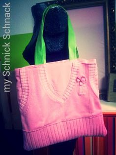 DIY Upcycling - aus einem Pullunder eine Hadtasche pink sweater turns into a bag