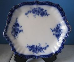 One Flow Blue China Touraine Pattern Serving Platter Henry Alcock Co Vintage | eBay