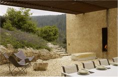Location: Napa Valley, USA Year: 2009 Architects: Steven Harrison Materials: rammed earth, wood Landscape: Blasen Landscape Architecture Photography: Marion Brenner Via: ASLA Rammed Earth Homes, Wooded Landscaping, Backyard, Patio, Mediterranean Homes, Unique Gardens, Architectural Features, Outdoor Living, Outdoor Decor