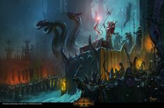 The Dark Ones (Total War: Warhammer 2 Soundtrack) Fantasy Heroes, Fantasy Battle, Fantasy Races, Medieval Fantasy, Fantasy World, Dark Fantasy, Warhammer Dark Elves, Warhammer Art, Warhammer Models