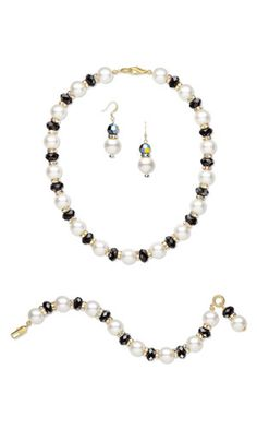 Single-Strand Necklace, Bracelet and Earring Set with SWAROVSKI ELEMENTS and Gold-Finished Brass Bead Caps