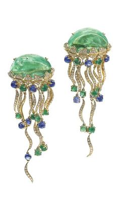 PAIR OF EMERALD, SAPPHIRE AND DIAMOND EAR CLIPS, 'MEDUSE', MICHELE DELLA VALLE Each designed as a jellyfish, set with a polished emerald body, suspending a series of articulated tentacles highlighted with cabochon sapphires and emeralds and brilliant-cut diamonds, signed MdV, Italian assay and maker's marks, pouch and case stamped Michele della Valle.