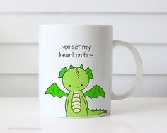 Funny Coffee Mug Gift For Boyfriend Husband Girlfriend Wife Dragon Pun I Love You Romantic Anniversary Birthday Gifts Quote Mugs Cup Her Him  You Set My Heart On Fire. This cute dragon mug is a fun way to tell your girlfriend, boyfriend, wife, husband, that special someone in your life just how much they mean to you! Perfect for Valentines Day, your anniversary, their birthday or any other day of the year when you want to tell them just how you feel, this funny little dragon will put a smile…