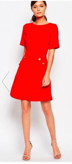 Red Mini Dress with Button Pockets! So cute!