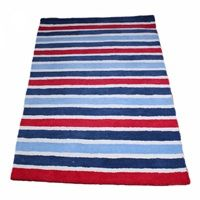 Brighten up your boy's bedroom with this robust and luxurious striped rug that will last for years. With classic blues and red this rug will co-ordinate perfectly with our Aeroplane, Fire Truck and Mc Turquoise Rug, Teal Rug, Gold Rug, Pink Rug, Childrens Rugs, Blue Carpet, Striped Rug, White Rug, Red Rugs