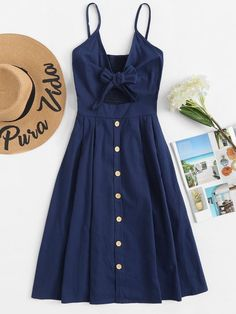 Single Breasted Front Knot Cami Dress Navy Fit and Flare Slip Casual Dress \ Spaghetti Strap Sleeveless Dress Dress Outfits, Casual Dresses, Casual Outfits, Fashion Outfits, Cami Dress Outfit, Skater Dress, Fashion Fashion, Prom Dress, Womens Fashion