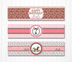Horse Party Water Bottle Labels  Set of 3 by moandcoparties, $9.00