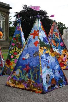 A selection of felt pyramids made by Primary School children as they wait to be hidden in Yorkshire Sculpture Park for the Treasure Hunt Installation