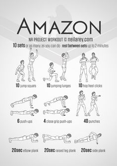 Instructions: Repeat each move one after the other with no rest in between until the set is done, rest up to 2 minutes and repeat the whole set again as many times as you can depending on your fitness level – maximum of 10 times.
